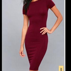 🌹 NWOT Lulu's Like Minded Midi Burgundy Dress